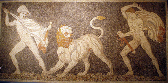 Depiction of Craterus saving Alexander from a Persian lion from Pella, Greece (photo by Miriam Mollerus)